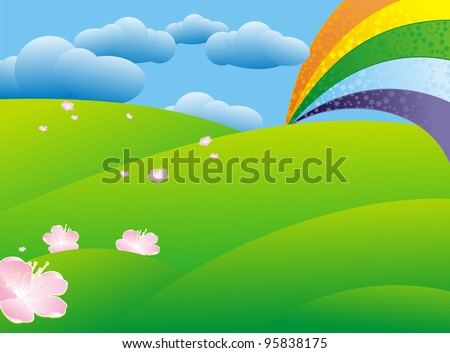 spring green meadow and rainbow after rain
