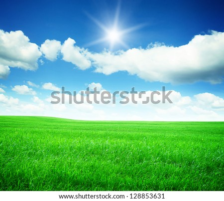 Spring green meadow, blue sky with clouds and sun.