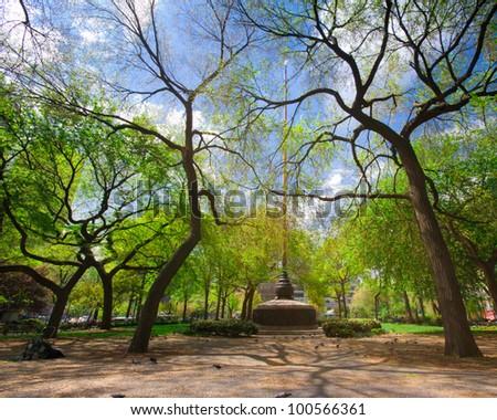 Spring greenery at landmark Union Square park in New York City - stock photo
