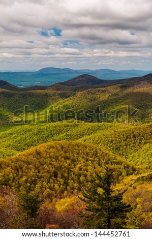 Spring greens and yellows in the Appalachian Mountains, seen from Blackrock Summit in Shenandoah National Park, Virginia.