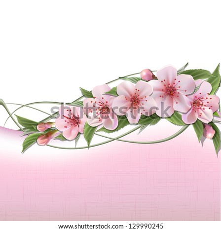 Spring header with pink cherry flowers, buds and copy space. - stock photo
