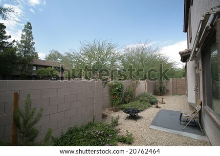 Spring in Arizona Style Landscaped Residential Backyard, Phoenix