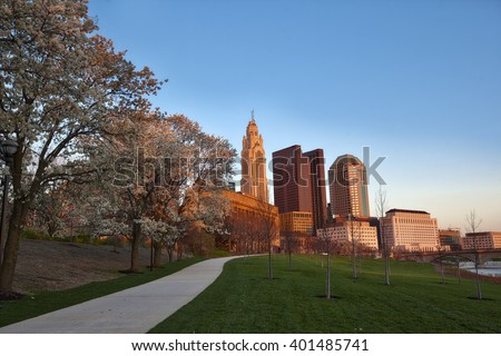 Spring in Columbus, Ohio during the golden hour - stock photo