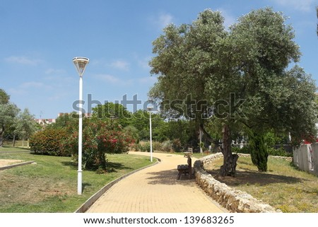 Spring in Park Moret, one of the largest urban parks in Andalusia is a treasure of 72.5 hectares forming the green lung of the city of Huelva, Spain - stock photo