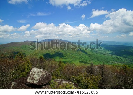 Spring in the Blue Ridge Mountains from Flat Top Rock Peaks of Otter, Blue Ridge Parkway, Bedford, Virginia - stock photo