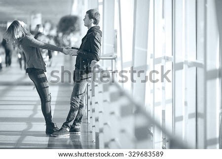 Spring in the city couple - stock photo