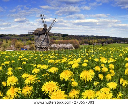Spring in the National Museum of Architecture in Pirogovo, where a rich collection of ancient wooden windmills, houses, outbuildings including an abundance of gardens and flowers - stock photo
