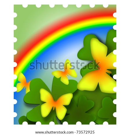 Spring inspired colorful postage stamp illustration with butterflies and rainbow - stock photo