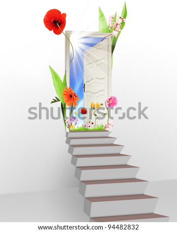 Spring is behind the door, concept of new start of nature cycle - stock photo