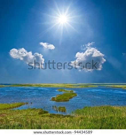 spring lake - stock photo