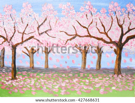 Spring landscape, garden in blossom, trees with pink flowers, oil painting. - stock photo