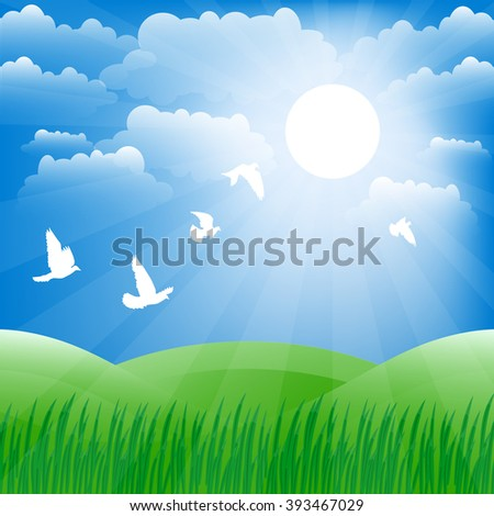 Spring landscape. Green grass and sun shine. Raster background. - stock photo