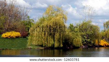 Spring Landscape-Hoyt Lake-Delaware Park-Buffalo,New York - stock photo