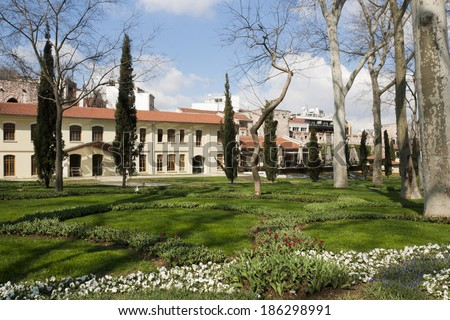 Spring landscape in Gulhane park, Istanbul, Turkey - stock photo