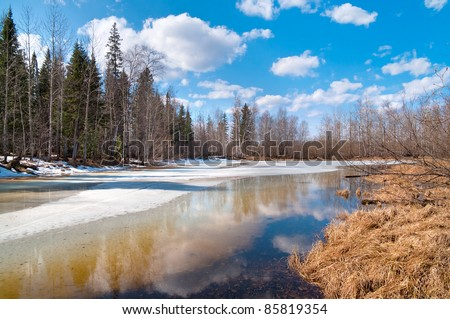 Spring Landscape. In Siberia, the long-awaited spring. Nature wakes up - stock photo
