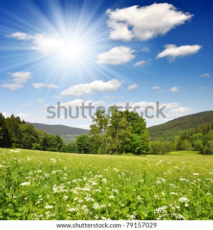 Spring landscape in the national park Sumava - Czech Republic - stock photo