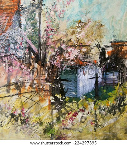 Spring Landscape, oil painting art background                                - stock photo