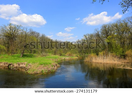 spring landscape win river in forest - stock photo