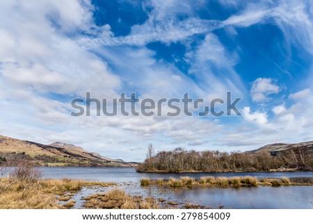 Spring landscape with Loch Tay near Killin, Scotland. - stock photo