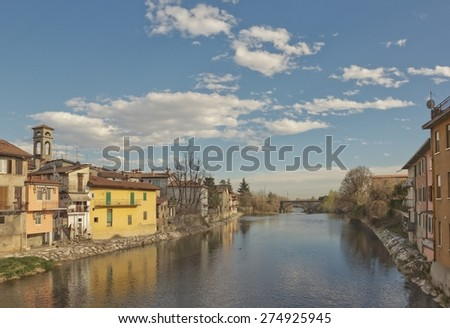 Spring landscape with Serio river in Seriate, which is a comune (municipality) in the Province of Bergamo in the Italian region of Lombardy