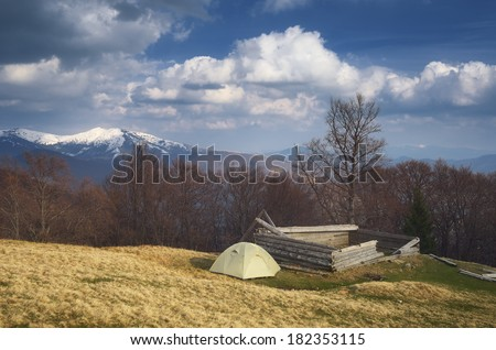 Spring landscape with the beautiful sky. Camping in the mountains. Carpathians, Ukraine, Europe - stock photo