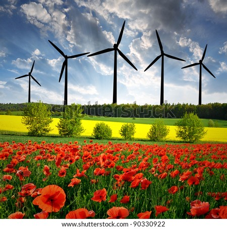 spring landscape with wind turbine