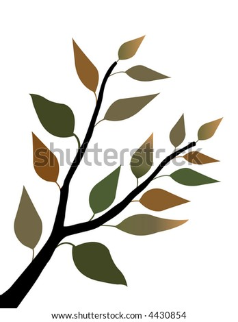 Spring leaves on a stem, white background - stock photo