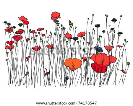 Spring meadow. - stock photo