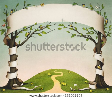 Spring meadow with trees, birds and flowers, and large paper banner. - stock photo