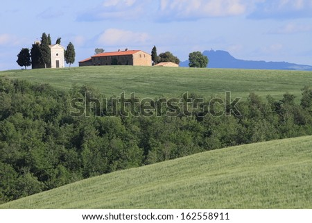 spring meadows and village house of Tuscany in The Val d'Orcia, a UNESCO world heritage site, Italy