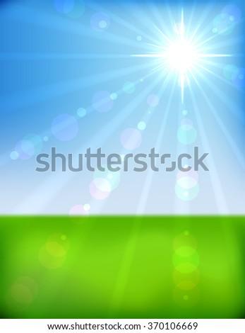 Spring morning bokeh background.  - stock photo