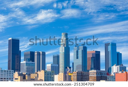 Spring morning in downtown Los Angeles,California - stock photo
