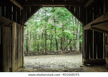 Spring Morning On The Farm.  Interior of a century old barn looking out to a lush green forest. - stock photo
