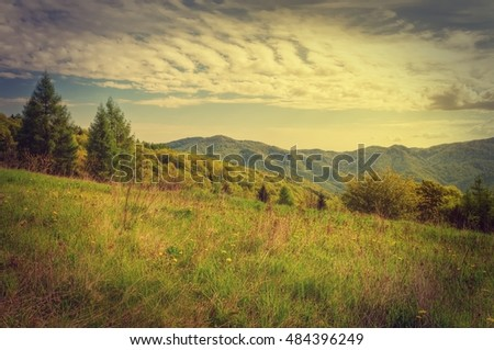Spring mountain landscape in vintage style. Green meadow and forested hills.