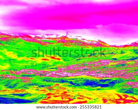 Spring mountain meadows in infrared thermography picture.  Hilly landscape and pink sky in background.  - stock photo