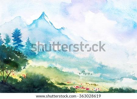 Spring mountain watercolor landscape. - stock photo
