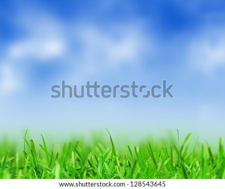 Spring nature background with grass, blue sky and sun - stock photo