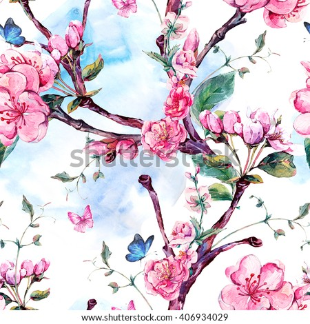 Spring nature watercolor seamless pattern with flowers apricot tree branches, isolated decorative botanical illustration with flower, and butterflies - stock photo