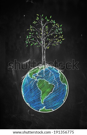 Spring of the world sketch - stock photo