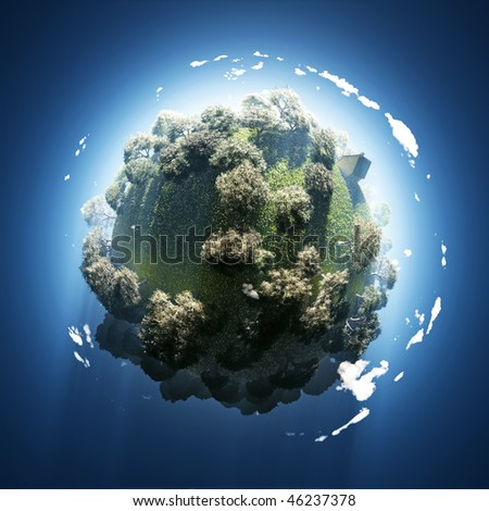 spring on small green planet - stock photo