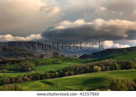 Spring on the hills - stock photo