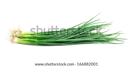spring onions on a white background. - stock photo