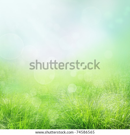 Spring or summer abstract nature background with grass and bokeh lights. Blue sky in the back