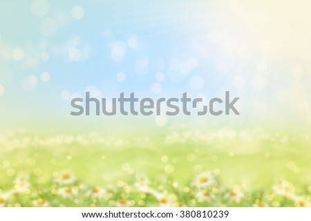 Spring or summer blurred nature background with grass.  - stock photo