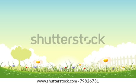 Spring Or Summer Garden Of Flowers/ Illustration of a beautiful Summer or spring season garden of flowers