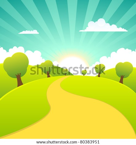 Spring Or Summer Season Rural Landscape Banner/ Illustration of a cartoon summer rural landscape sign or banner in summer or spring season - stock photo