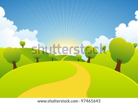 Spring Or Summer Seasons Rural Background/ Illustration of a cartoon summer or spring season country landscape - stock photo