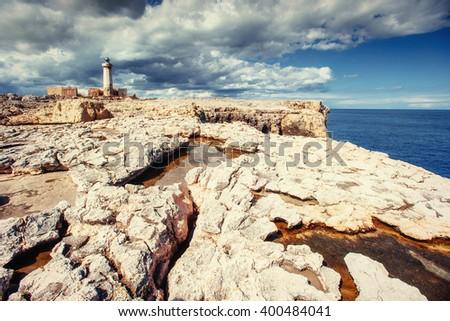 Spring panorama of sea coast city Trapany. Sicily, Italy, Europe. - stock photo