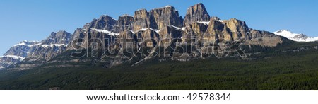Spring panoramic view of the castle mountain in banff national park, alberta, canada - stock photo