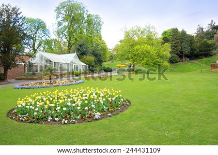Spring park with yellow tulips, Richmond, England - stock photo